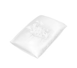 Vector 3d realistic torn square pillow. Template, mock up of white fluffy comfortable cushion with feathers for relaxation, sleep, nap, bedding, rest. Injured pillowcase.