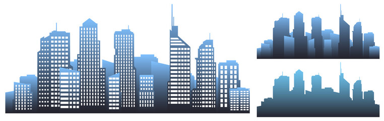 Monochromatic city panorama.  illustration of flat colored silhouettes of buildings