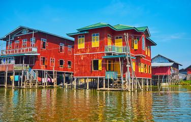 Dense housing on Inle Lake, Myanmar