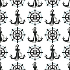 Vintage retro anchor badge vector seamless pattern sea ocean graphic nautical anchorage symbol illustration