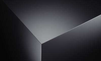 Realistic edge of black box, 3d rendering.