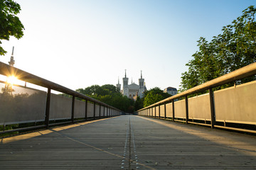 Empty lane leading toward Notre-Dame de Fourviere in Lyon on a sunny, spring morning. Lyon, France.