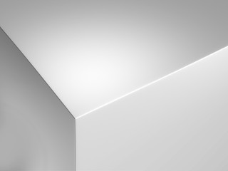 Realistic edge of white box, 3d rendering.