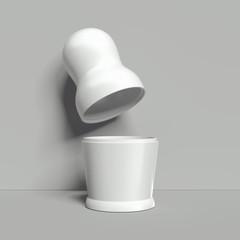 Blank white nesting doll mockup, russian matryoshka, 3d rendering.