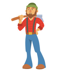 Woodcutter bearded lumberjack vector character with an ax in his hand logging equipment lumber industrial wood timber forest man illustration.