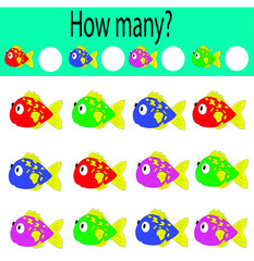 vector illustration of how many