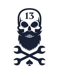 Bearded Skull and crossed wrenches.