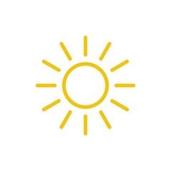 Sun icon vector. Line summer symbol. Trendy flat outline ui sign design. Thin linear graphic pictogram for web site, mobile application. Logo illustration. Eps10