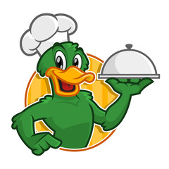 Vector of Duck Chef character holding plate