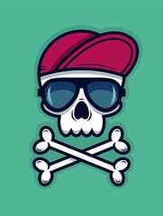 Cool skull in sunglasses and a cap