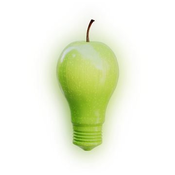 Apple shaped as a light bulb glowing on white background. Innovation, idea and creativity concept.