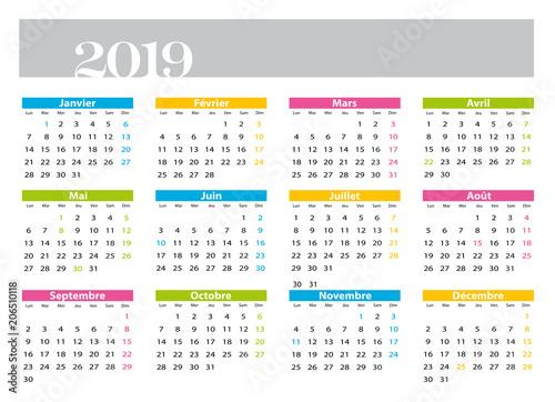 Calendrier 2019 Png.Calendrier 2019 Francais Avec Jours Feries Fichier