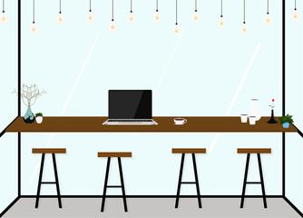 Modern flat design coffee shop Interior. work in cafe. Vector Illustration