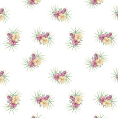 Tropical bounquet seamlless pattern with exotic palm leaves. Seamlless pattern tropic leafs on white background