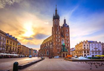 Photo sur Aluminium Cracovie Old town market square of Krakow, Poland