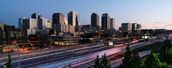 Early Morning Commuters Create Light Trails Before Rush Hour in Bellevue Washington