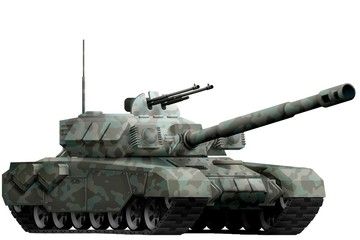 heavy tank with winter camouflage with fictional design - isolated object on white background. 3d illustration