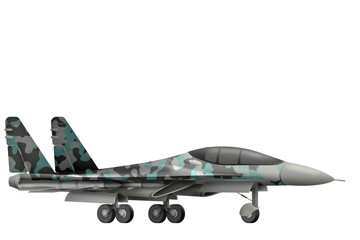 fighter, interceptor with winter camouflage with fictional design - isolated object on white background. 3d illustration