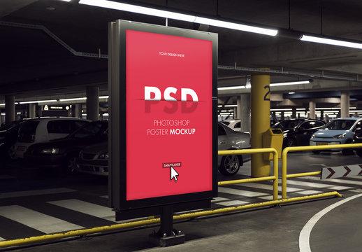 Billboard Advertising Kiosk in Parking Garage Mockup