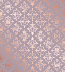 Seamless floral damask rose gold wallpaper