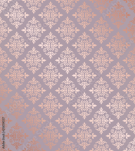 Seamless floral damask rose gold wallpaper