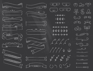 Chalkboard Ribbons and Design Elements Set