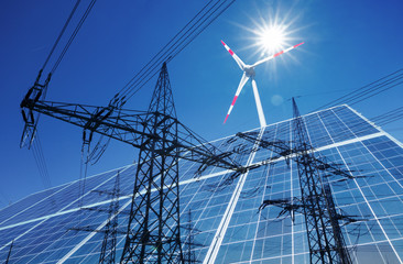 Composing from Wind turbine, solar panel and high voltage pylone with powerline
