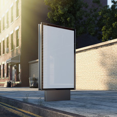 Blank banner on a street in the city. 3d rendering