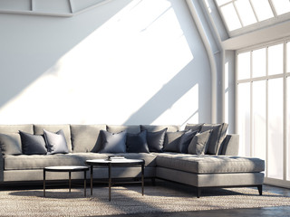 Modern cozy room with grey sofa and dark table. 3d rendering