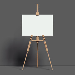 White easel stands next to dark wall, 3d rendering