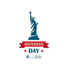 Statue of Liberty for 4th of July, Independence Day celebration USA. Vector banner.