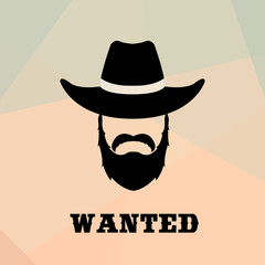 Poster Wanted with Bandit Portrait . People icon. Vector illustration.