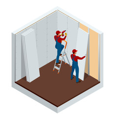Isometric man installing drywall gypsum panels vector illustration. Construction building industry, new home, construction interior.