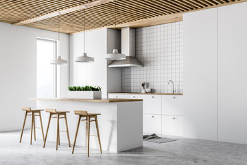 White modern kitchen interior, side view
