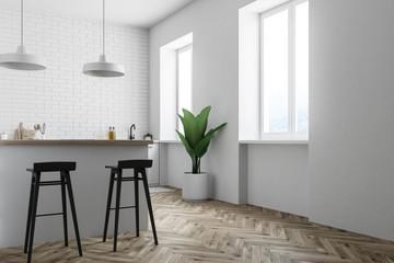 White brick kitchen corner