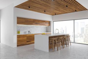 White and wood kitchen corner, bar