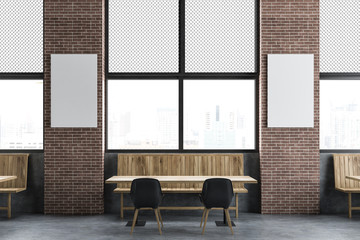Loft cafe interior, vertical mock up poster