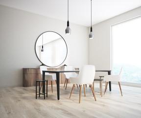 Classic dining room corner, round mirror
