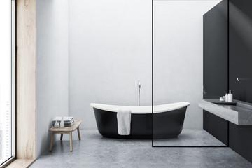 Bronze bathtub, white walls