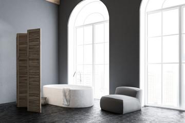 Gray arched windows bathroom interior