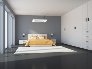 White and gray bedroom interior