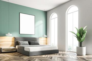 Green bedroom corner, frame poster