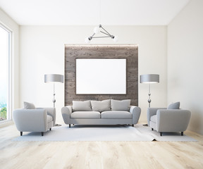 White and wooden living room, horizontal poster