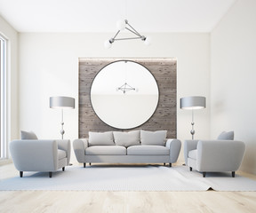 Gray sofa white and wooden living room, armchairs