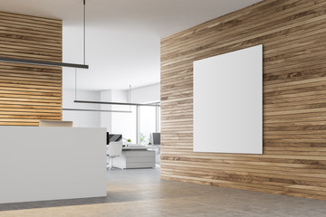 White reception table in a wooden office, poster