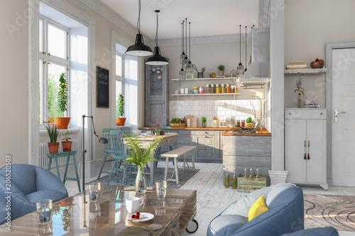 esszimmer kuche wohnzimmer, skandinavische, nordische küche - wohnzimmer - esszimmer - wohnung, Design ideen