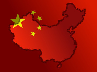 Illustration of a Chinese Flag with a contour of borders
