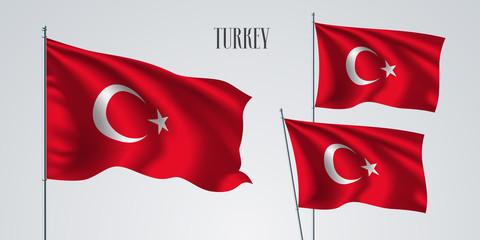 Turkey waving flag set of vector illustration