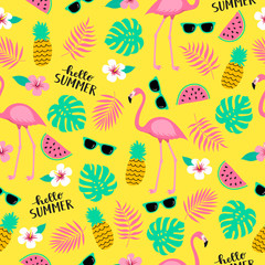 Summer seamless cute colorful pattern with flamingo, pineapple, tropical leaves, watermelon, flowers, sunglasses on yellow background. Vector illustration