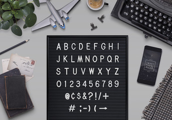 Letterboard Mockup with Accessories
